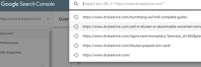 inspect url in google search console