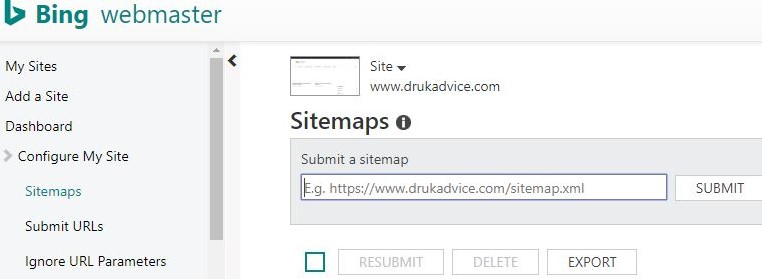 Submit sitemap on bing