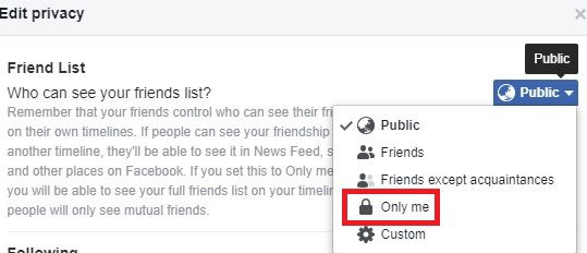 Edit privacy Facebook