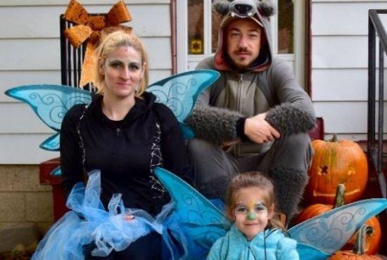 Joe  Robinet with his wife Wilhemina Robinet and daughter Emerald celebrating Halloween