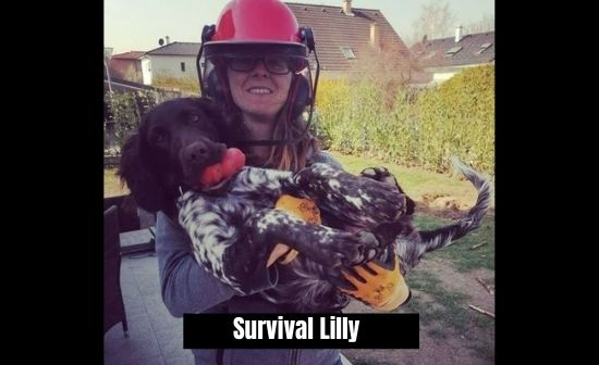 Survival lilly removing tree stump in her garden with her dog Amy