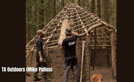 TA Outdoors Mike and his friend Dustin building iron Age Celtic Roundhouse