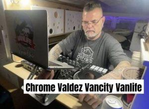 Chrome Valdez aka Vancity Vanlife busy editing his video inside his camper van.