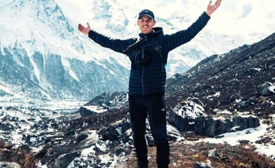 Wills Whereabouts enjoying the scenic view of annapurna base camp