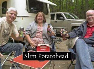 Slim Potatohead drinking beer with his viewers in Ontario