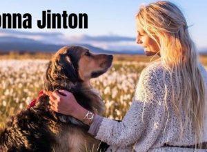 Jonna Jinton with her furry dog Nanook